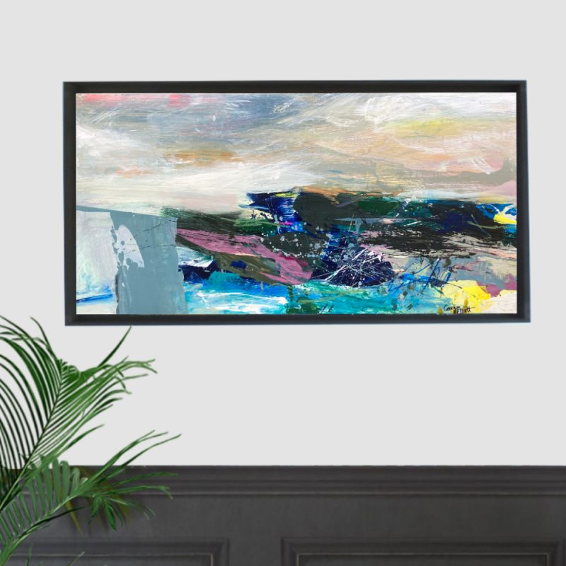A bold abstract seascape bursting with energy and expressive brush marks. Painted on wood it provides interesting textures from scraping and sanding into the paint layers.