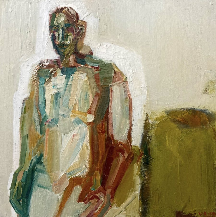 A rich figurative work using cool colours and thick oil paint .