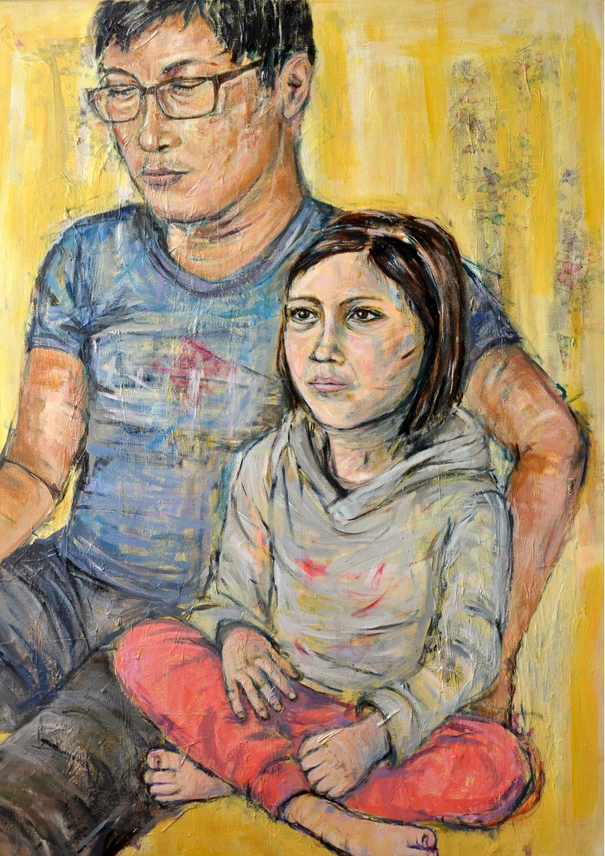 A painting of a father and child sitting together looking at unseen screens