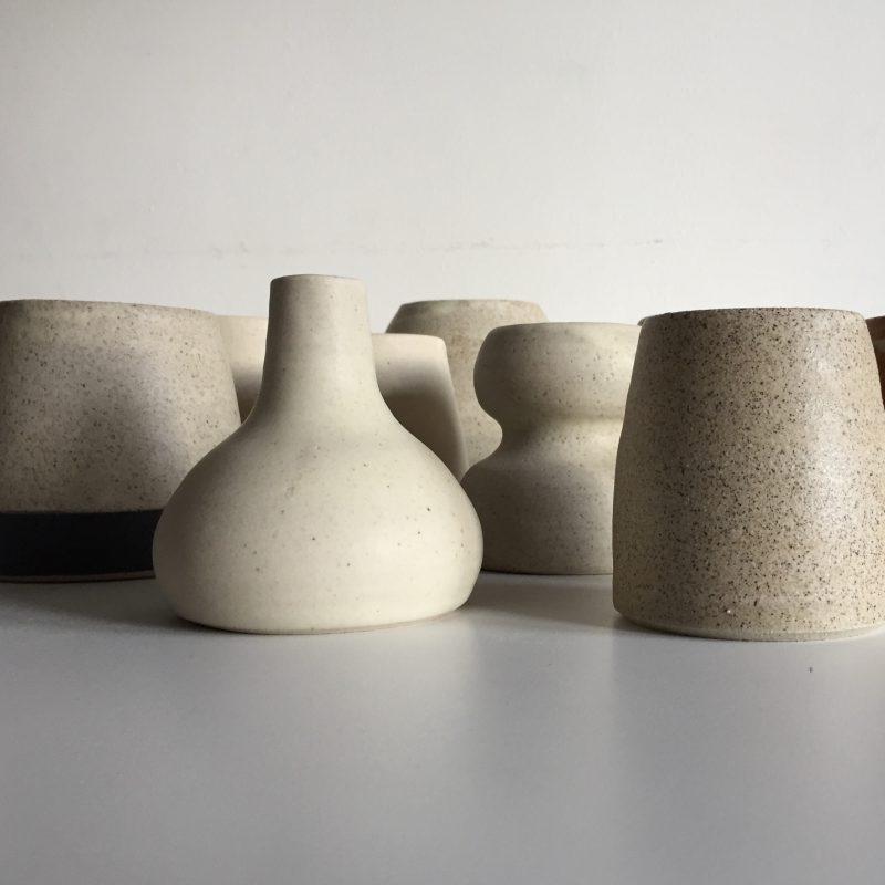 Collection of matt oatmeal glaze vessels
