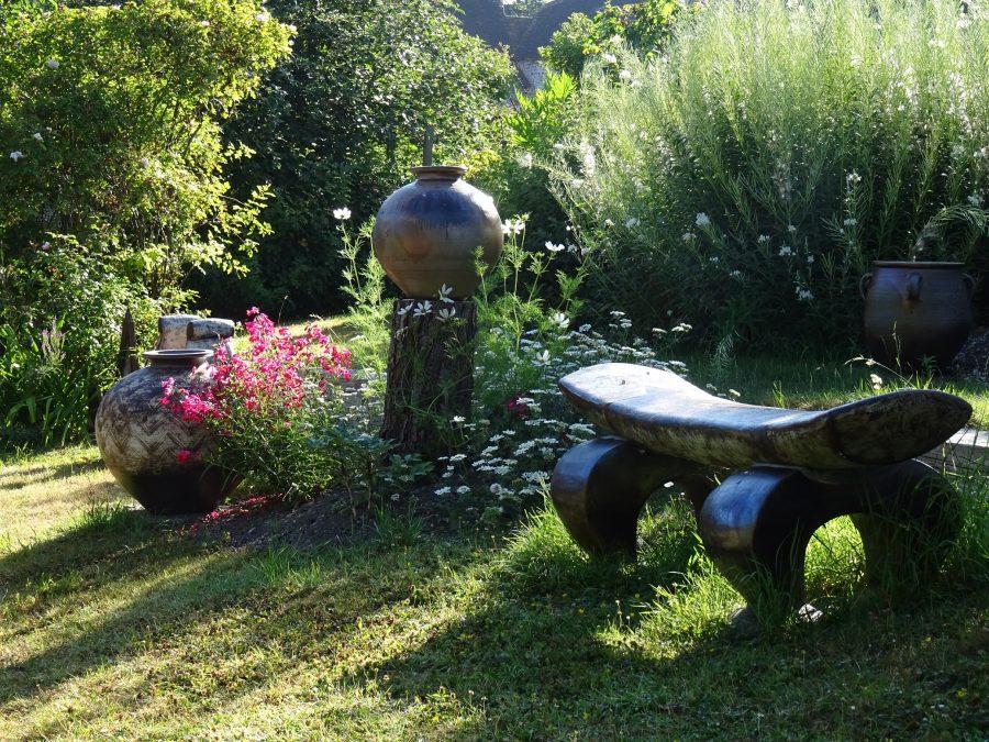 Ceramics in a garden
