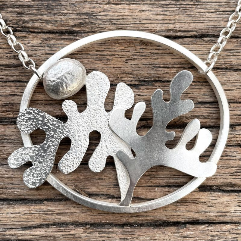 3D oval Sterling Silver organic plant life necklace
