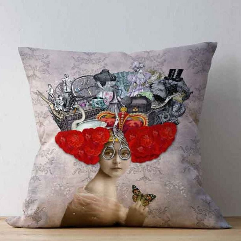 THINGS ON MY MIND Soft faux suede 52cm square cushion