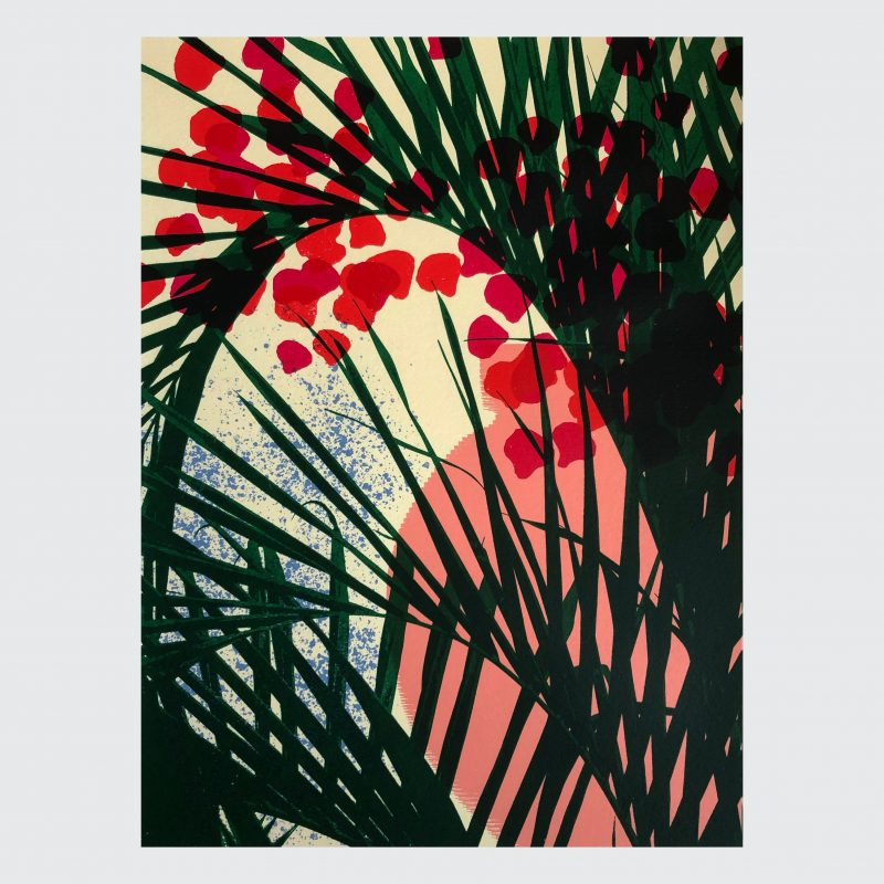 Screenprint of a palm frond against a colourful background