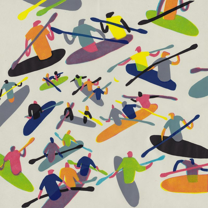 A colourful graphic linocut print of a group of kayakers