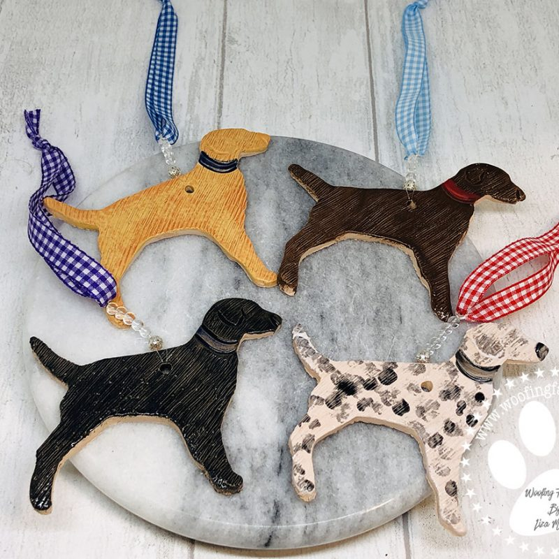 Pottery Dog Ornaments in a range of colours that you can select from.
