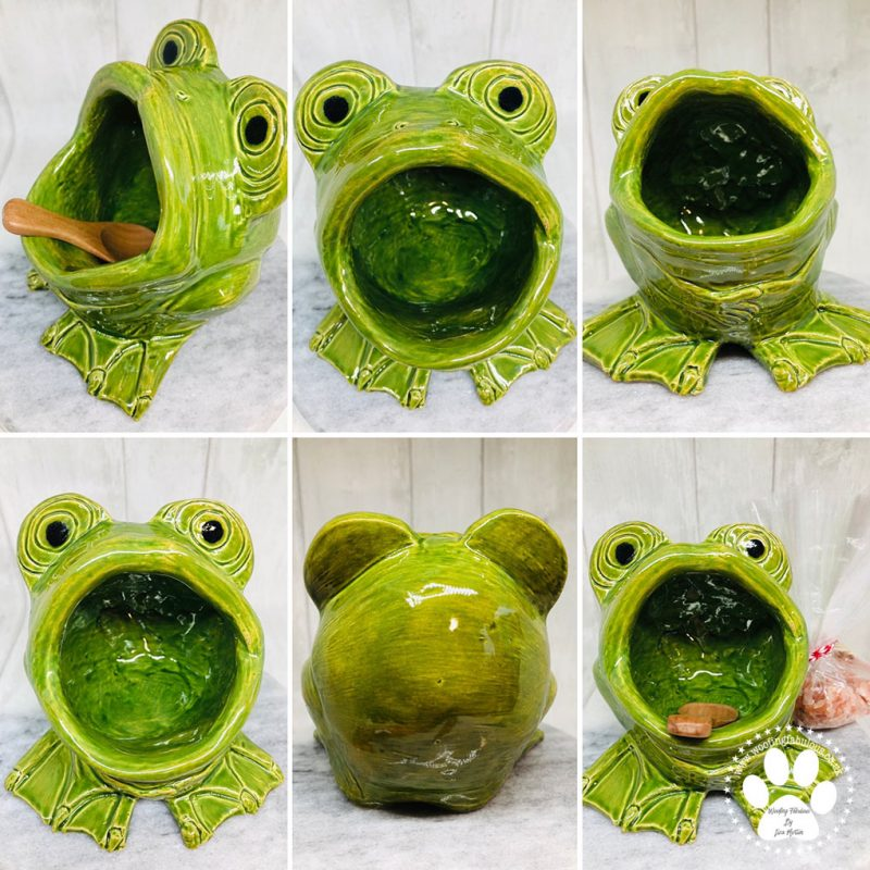 A bright green frog with a big wide open mouth so you can put his little wooden spoon in and pull out some rock salt for cooking with.