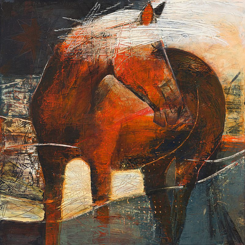 A painting of an  orange and black horse looks over his shoulder in an abstract landscape