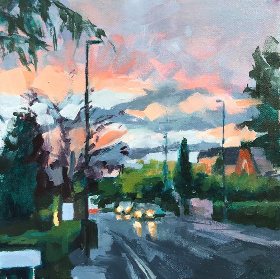 Expressive oil painting of a suburban scene