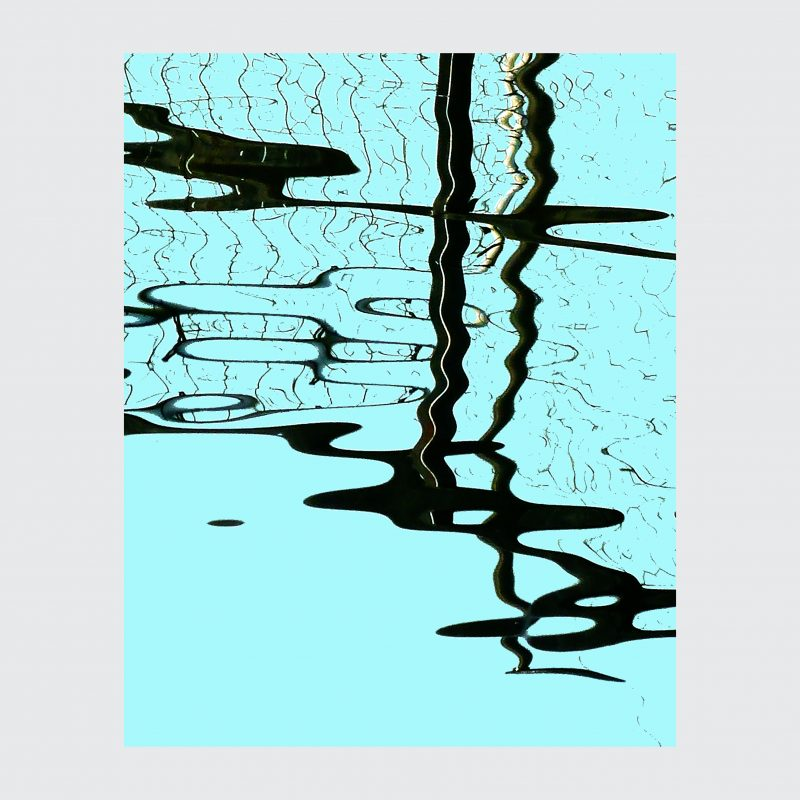 Screenprint of abstract water reflection in black and turquoise