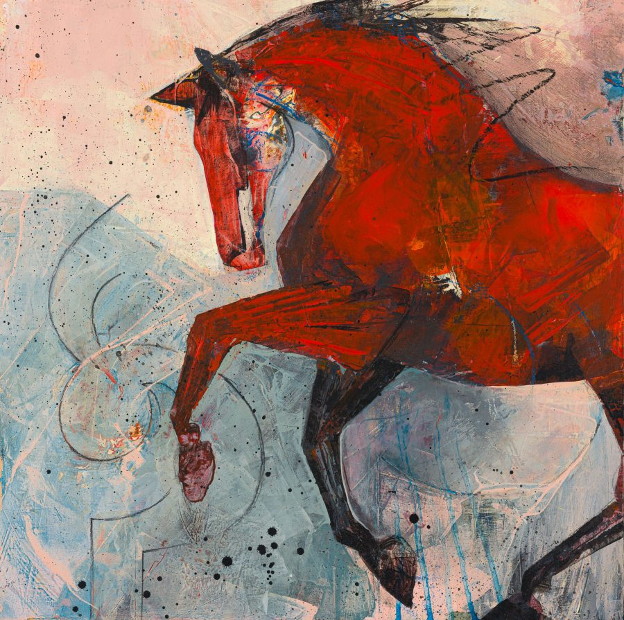 A bright red horse fills the painting with a joyful expression of movement against a pale blue and pink background with Sanskrit writing just visible