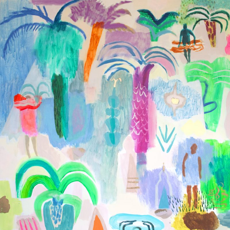 A painting of colourful palm trees and tropical plants. In between are dotted figures in bathing suits.