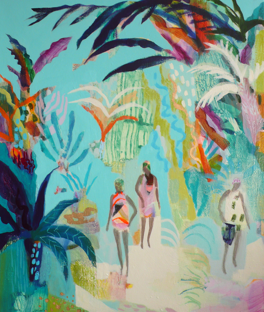 a painting depicting three swimmers dressed in bright swimsuits about to take a swim in the sea, surrounded by a vivid turquoise background and lush tropical plants.
