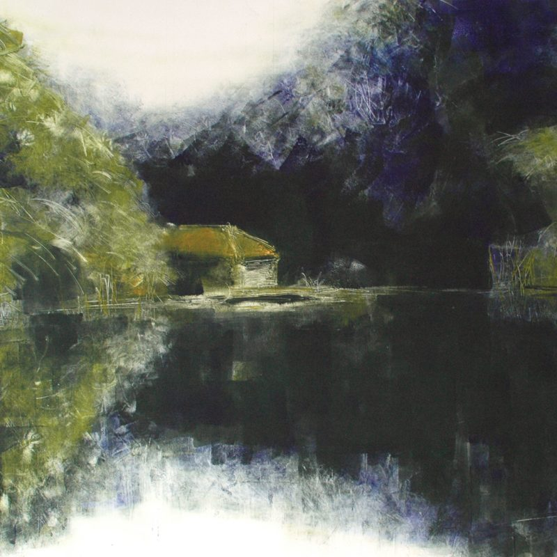 Print of old boathouse on a river