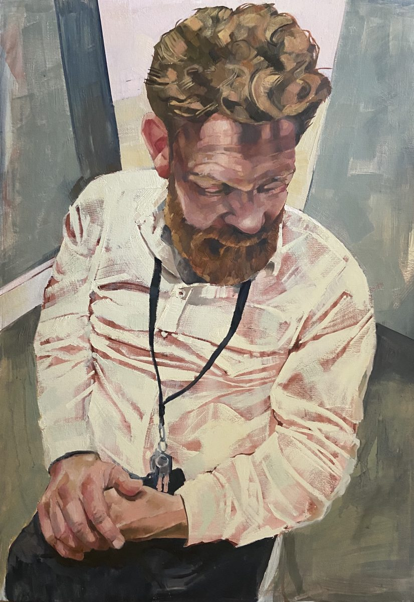 Realistic contemporary portrait of a man in a crumpled shirt.
