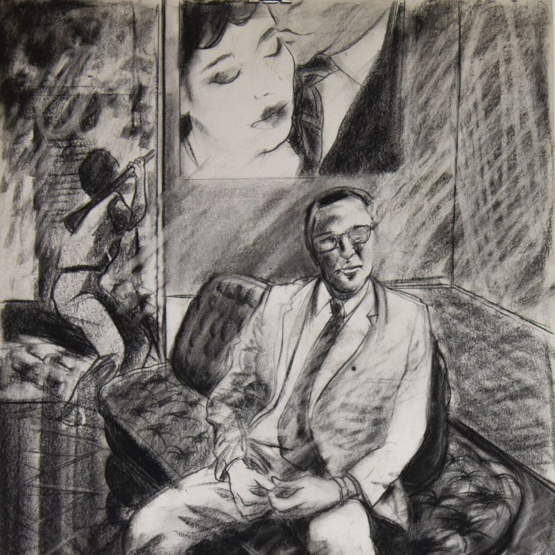 A man dressed in a suit sits upon a luxury sofa. Behind him appears to be a painting or poster to be a painting on the wall, with a jockey(?) approaching next to it.