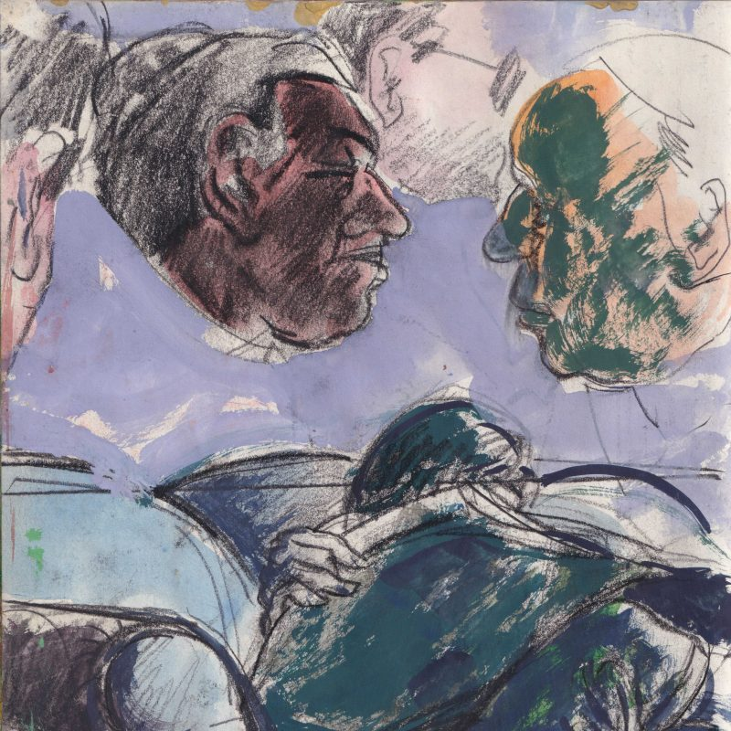Two figures selected from what seems to be a crowd of people, chatting idly whilst one rests on an armchair