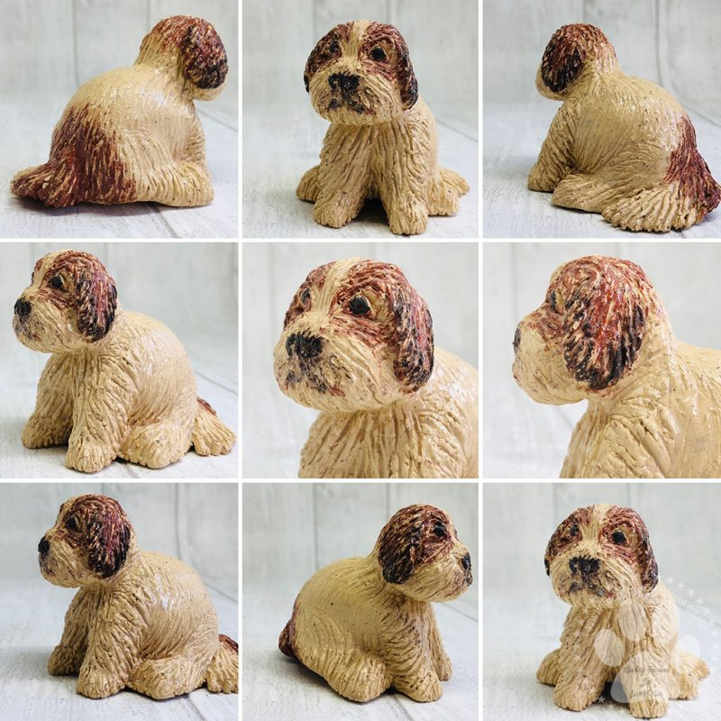 Miniature Dog made out of buff and terracotta clay so he has natural colourings.