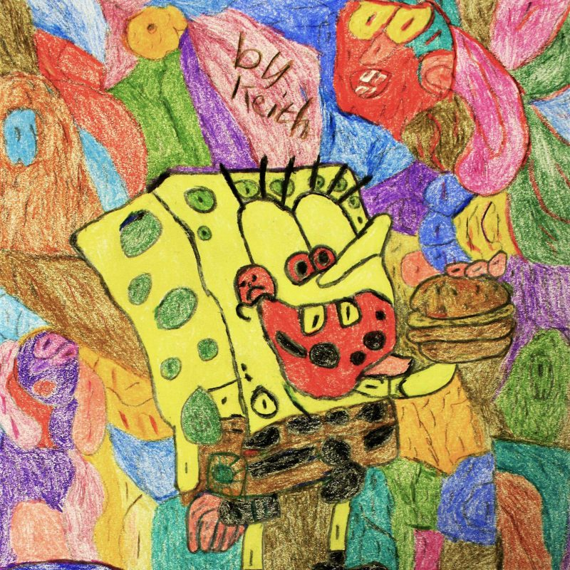 Sponge Bob Squarepants eating a burger against multi coloured pencil background