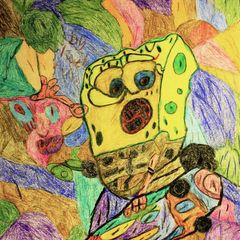 Sponge Bob Squarepants skating against mulit coloured background