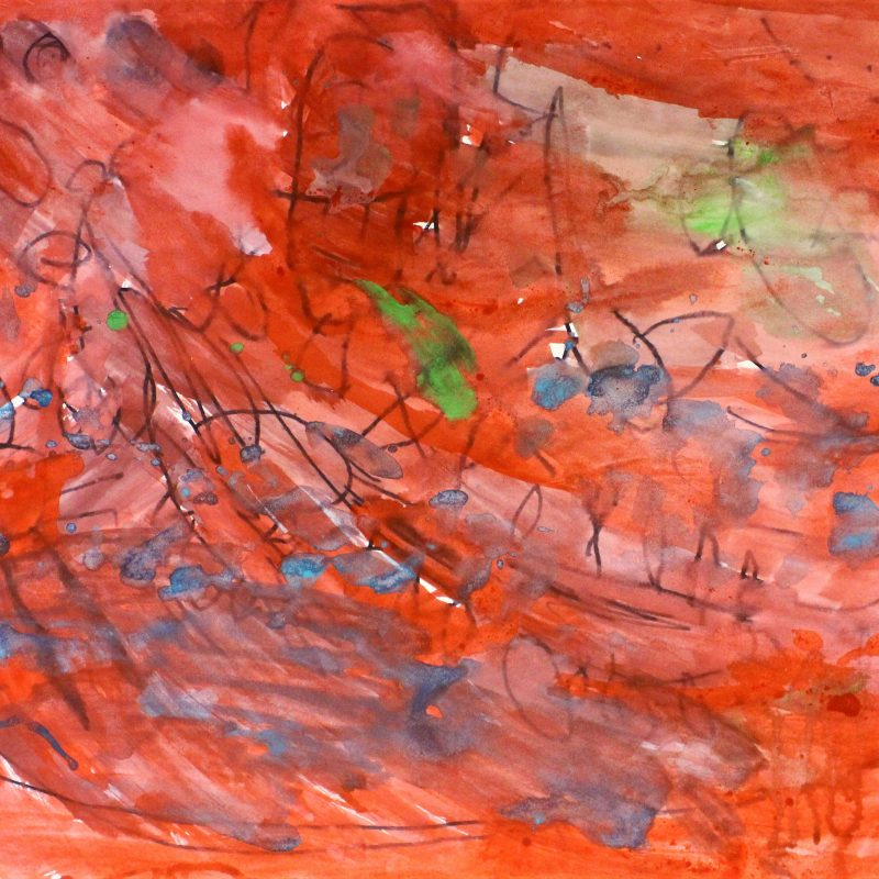 Abstract image, mainly red with areas of green and blue