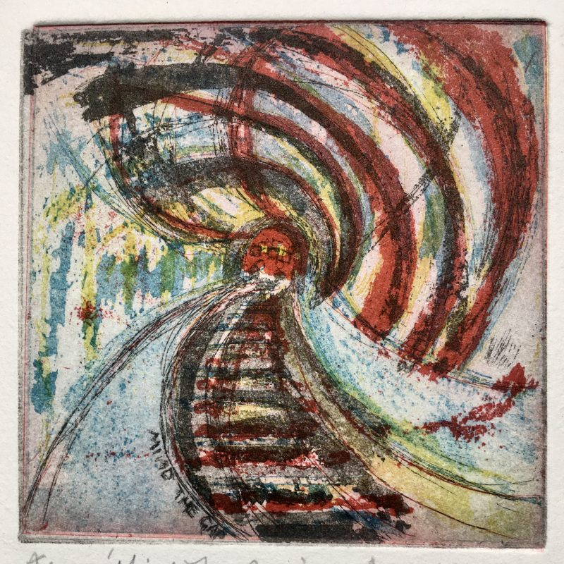 Abstract and colourful depiction of a moving underground train on tracks