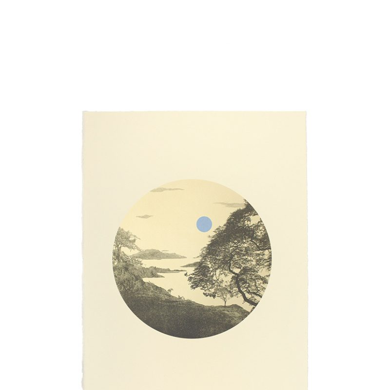 Imagined landscape inspired by Japanese art movement shin-hanga