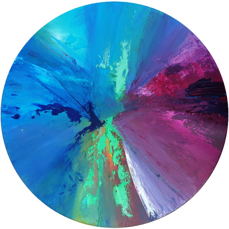 Abstract circular Canvas. blues, teal and reds magenta.