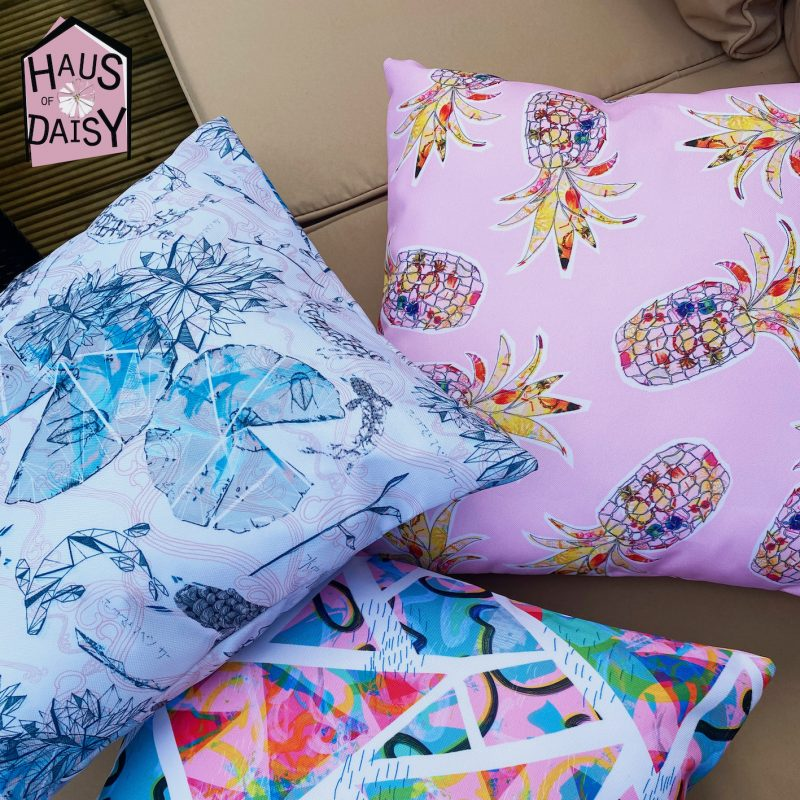 Waterproof Garden Cushions in various colourful prints