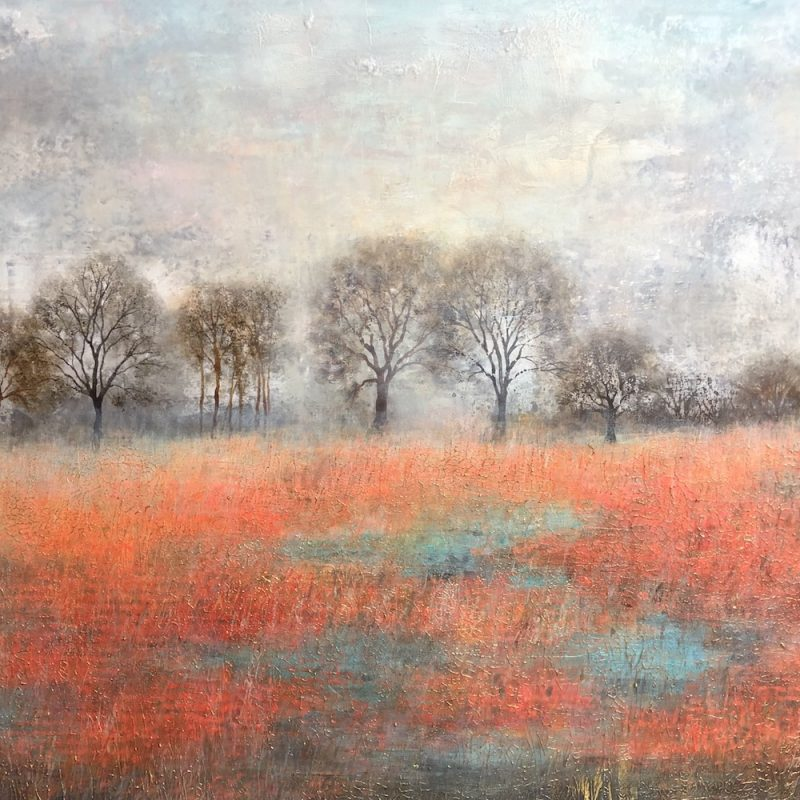 Autumn Landscape featuring field with red hues set against a grey backdrop with trees on horizon.
