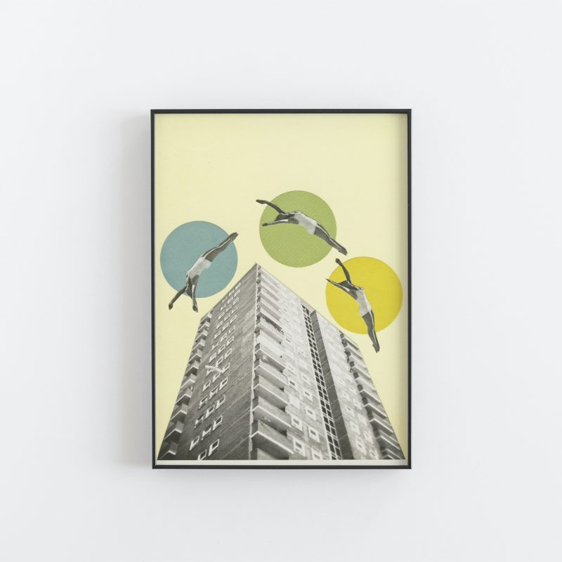 Collaged print of three people flying above an office building