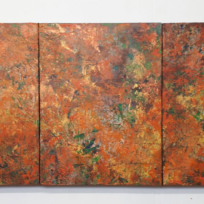 An abstract series of three. Layers of dappled orange and green. God knows, I needed that blessed escape, with no preconceptions at all, just crank out the work until I could do no more. Started as a study for a larger altar piece, how I use my triptychs, that was a plan for a strong base upon which to make further marks but I just got more and more carried away enjoying each of the many many layers that went on, either in washes or impasto. In the end the grids, the circles and spirals of the original dance were concealed, but that's life isn't it? I felt this piece just so represented for me the core of creation. A deep immersive affair with the medium in the moment.