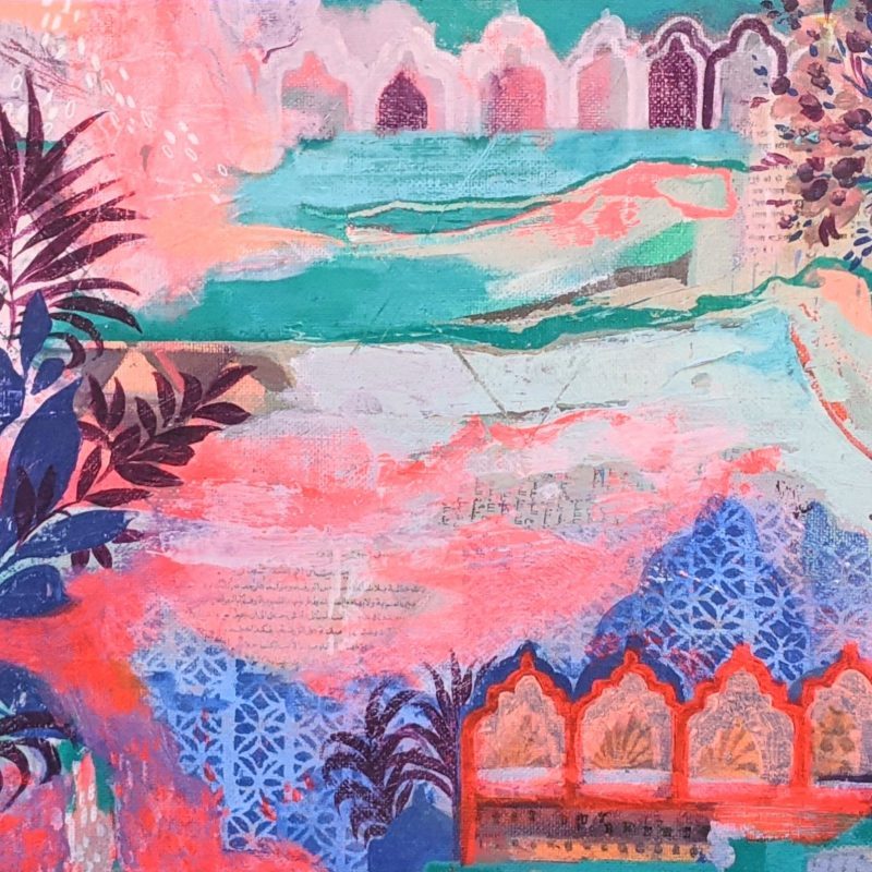 Pink, turquoise, blues and whites capturing an Islamic feel of a walled city and faraway lands