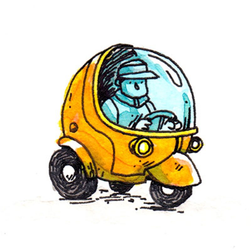 An illustrative pen and ink drawing of someone driving a car