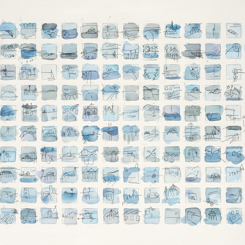 140 miniature landscapes of our beloved Brighton in blues. A gallery quality giclee limited edition print on 100% cotton rag paper, with archival inks and a hand torn edge. It is signed, titled and numbered.
