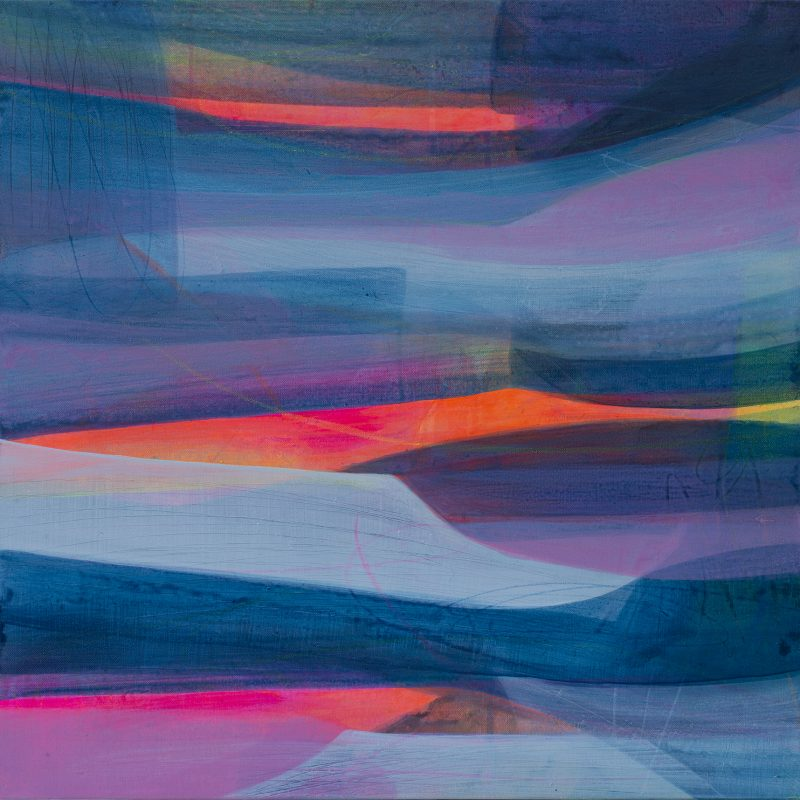 Contemporary landscape with vibrant blues and pinks. A gallery quality giclee limited edition print on 100% cotton rag paper, with archival inks. It is signed, titled and numbered.  I have also added a hand-finished drawn element so that each print is unique.