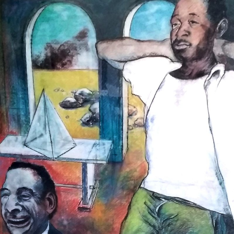 Interior with figure (The Laughing Man) A man dressed casually with his arms supporting his head, stands to the right of the painting against a background of two arches, some shapes like stones and smoke in the distance. In the left hand corner of the painting appears the face and shoulders of a 'laughing man' from which the work gets it's title.