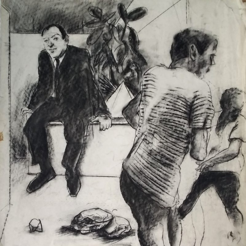 A charcoal drawing of three figures in an interior. A figure at the rear of the image, wearing a suit and tie, calmly observes a running man who is crossing the foreground of the work, from left to right, while another, smaller figure appears outside the frame and is looking away from the principle figures. Strong lines and tone give the drawing a sense of theatre.