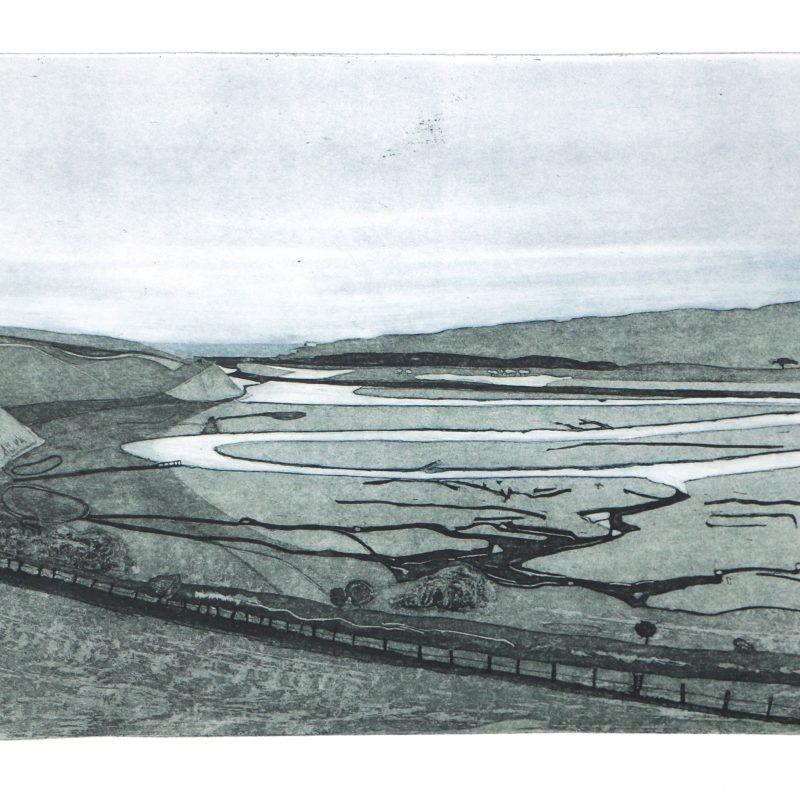 Landscape etching of the Cuckmere Valley