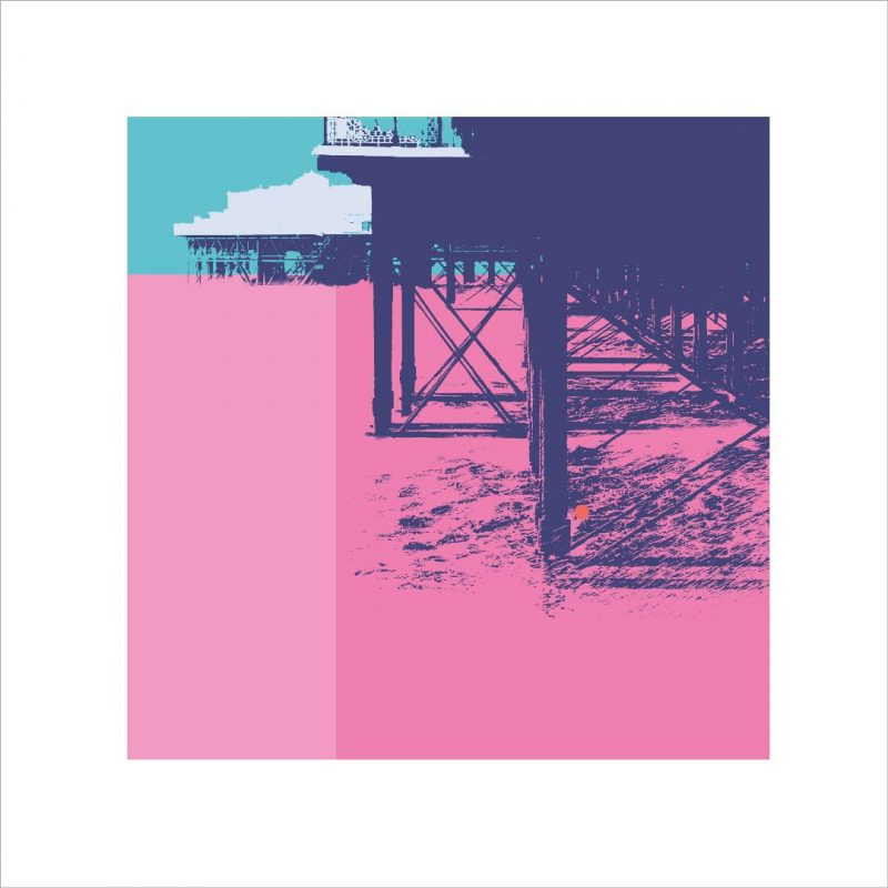 Graphic print of the underside of the pier in pink and turquoise