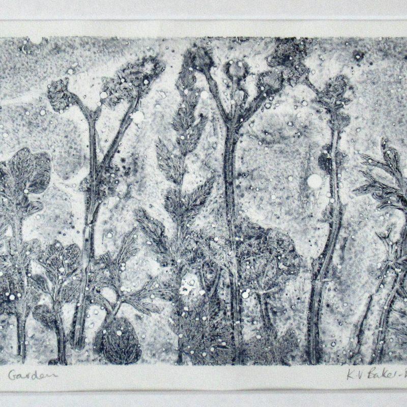 Original print of textured plant forms. Monochrome.