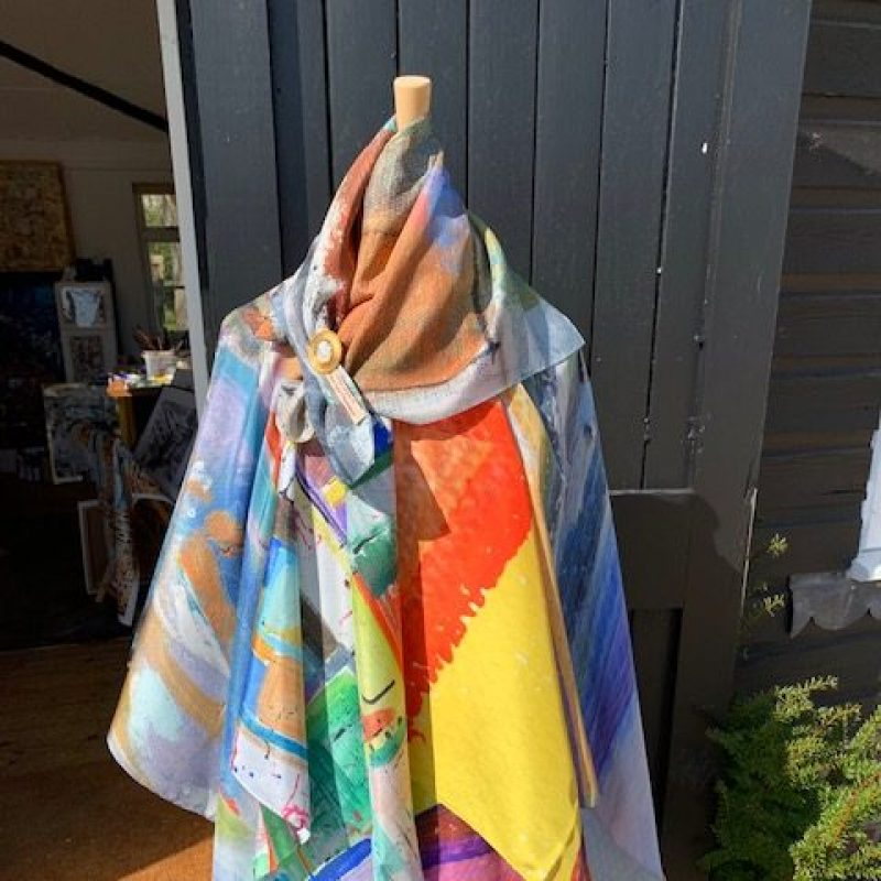 Gorgeous pure silk scarves with beautiful bright prints from the Sussex paintings of Louise Dale Chalmers.