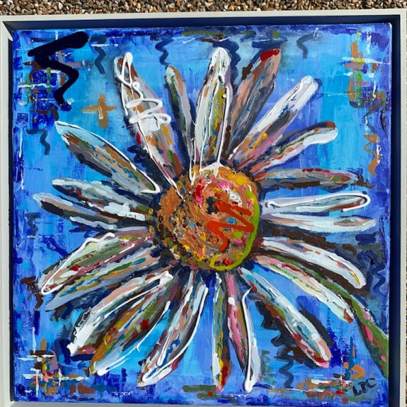 Thickly painted, brightly and joyfully coloured, huge Ox Eye daisy.  Canvas in box frame