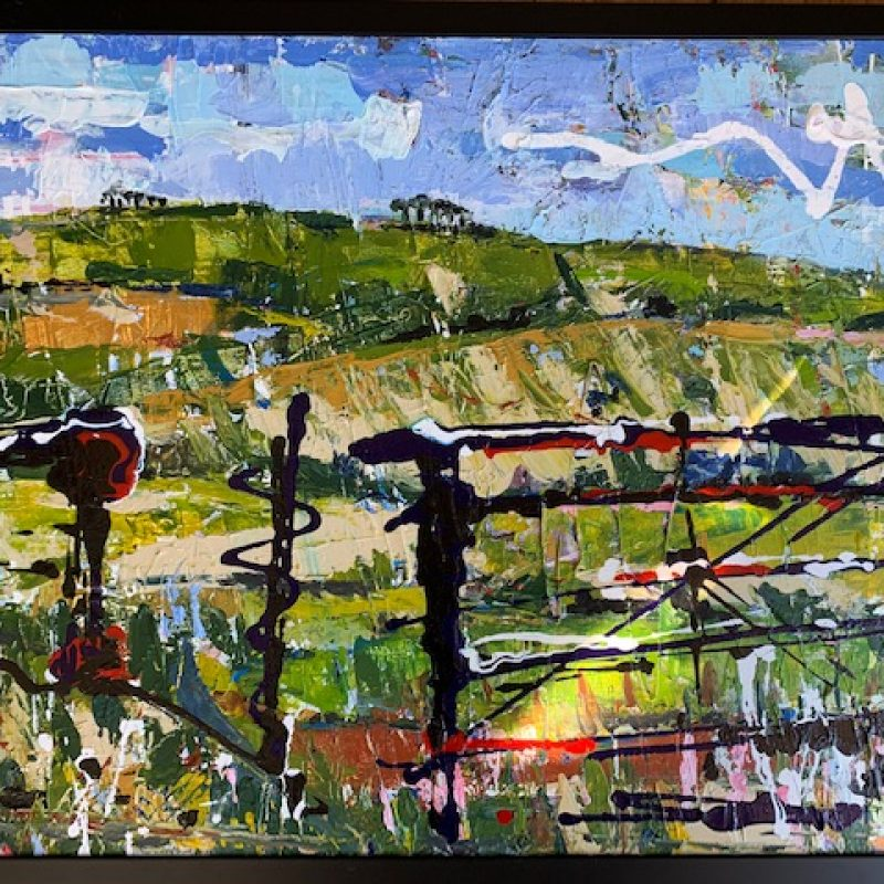 Bright and colourful, expressionist painting of the beautiful Sussex South Downs through a gate near my house.. Framed canvas.