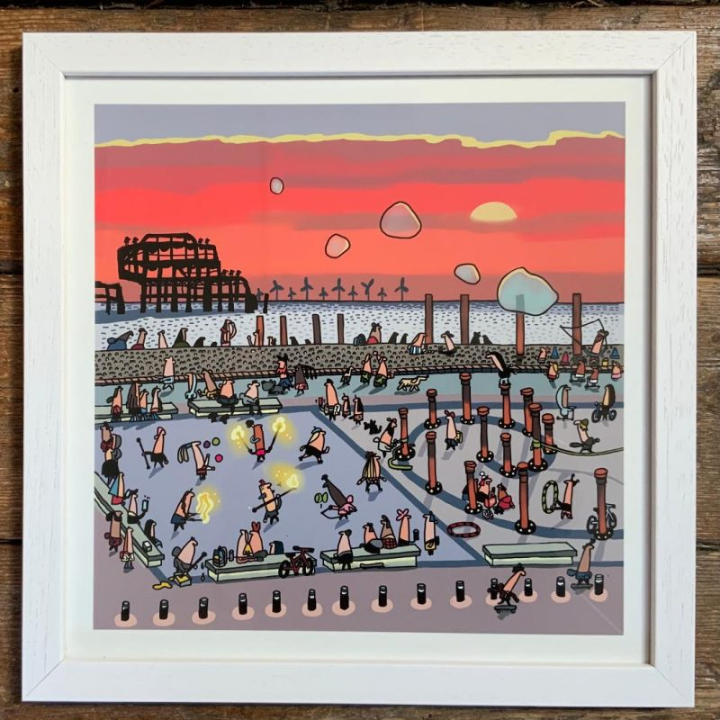 Cartoon style illustration of a circus in front of West Pier