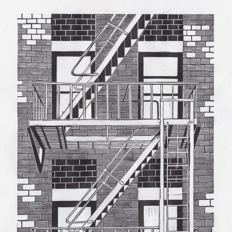 A black and white linocut print of a New York fire escape