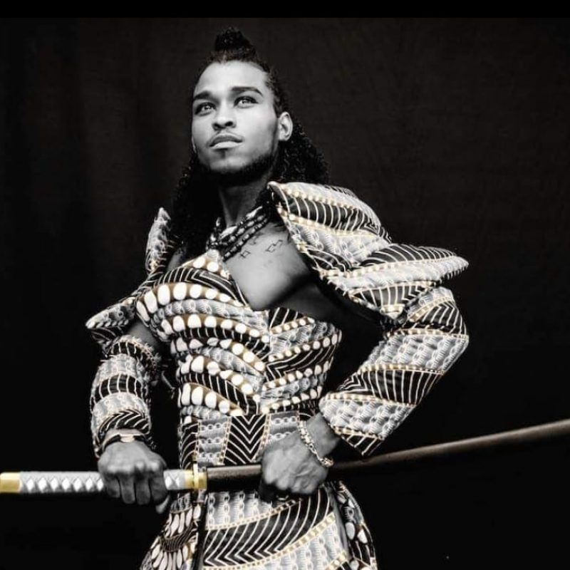 Black and white augmented - Samurai wearing an outfit made of wax (African traditional fabric)