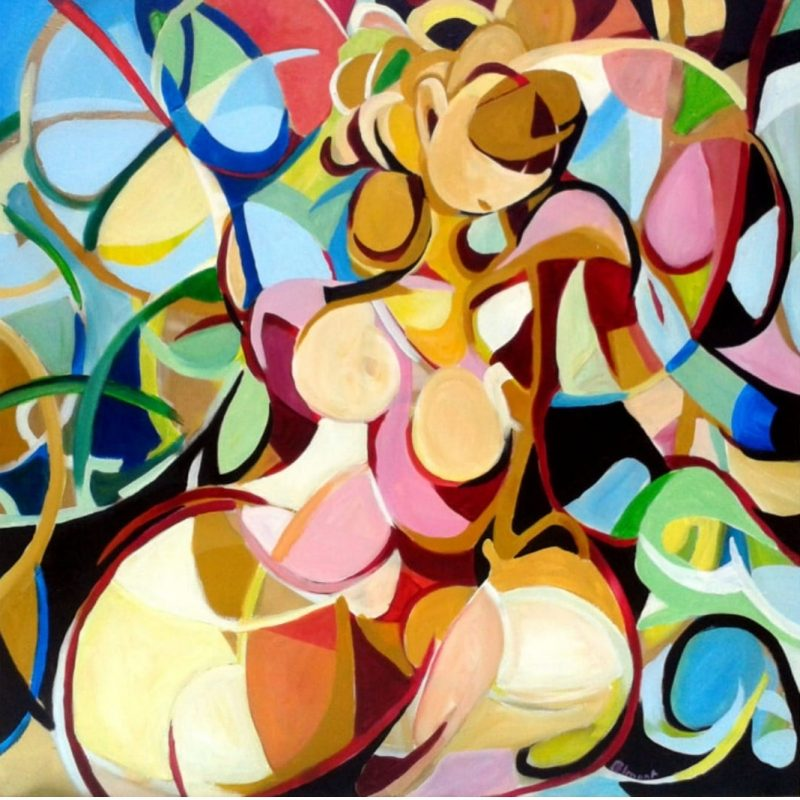 Cercles and curves and colours forms almost a woman - Abstract