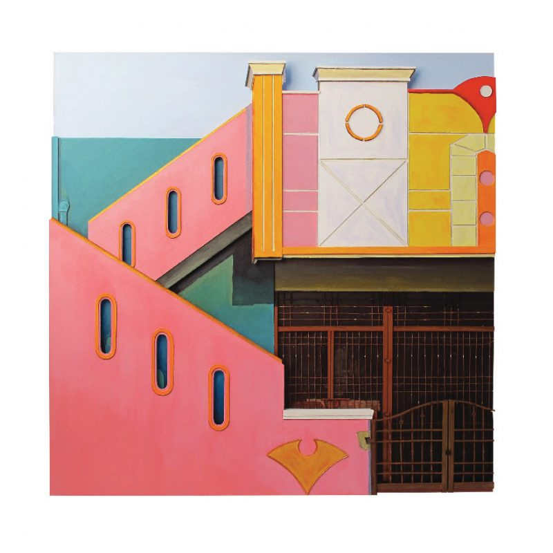 Relief painting of a pink and green building