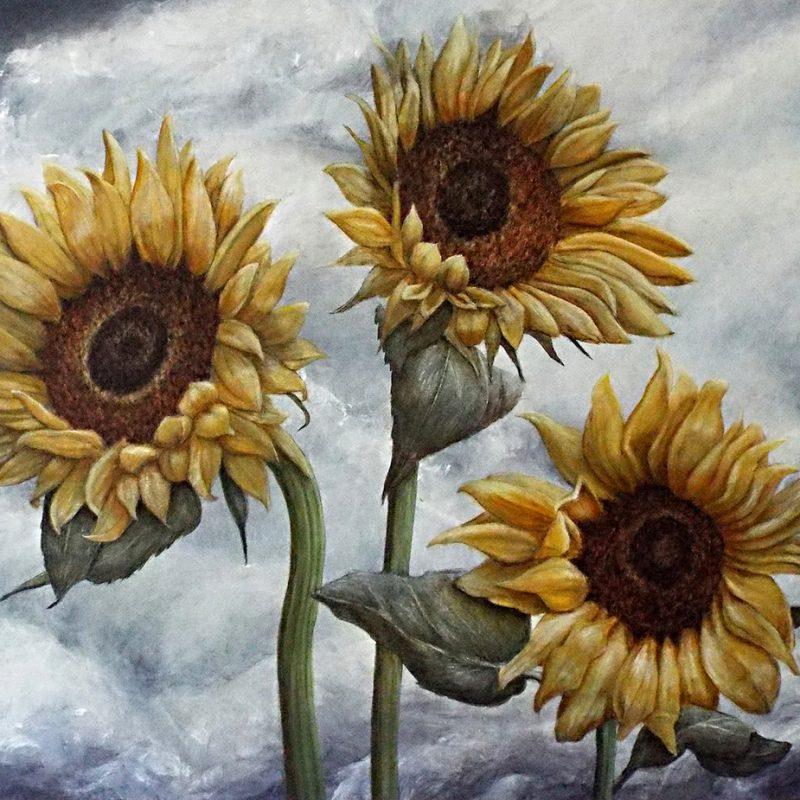 3 large sunflowers